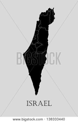 Black Israel map on light grey background. Black Israel map - vector illustration.