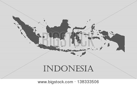 Gray Indonesia map on light grey background. Gray Indonesia map - vector illustration.