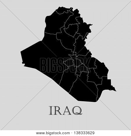 Black Iraq map on light grey background. Black Iraq map - vector illustration.