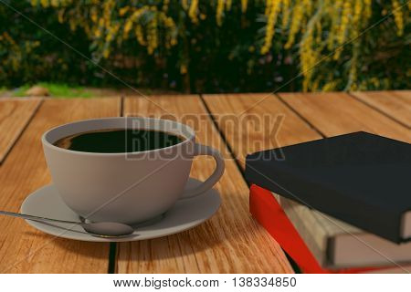 3D rendering ofCoffee and books on a wooden table in the park