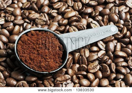 Ground Coffee In Measurement Spoon