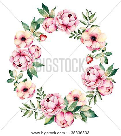 Colorful floral wreath with peonies, flowers,l eaves, succulent plant, branches, strawberry and more.