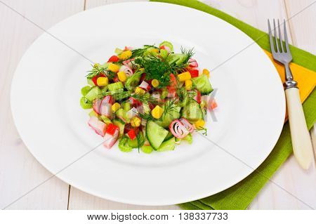 Salad of Celery, Crab Stick, Cucumber, Corn and Dill Studio Photo