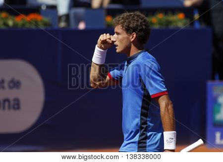 BARCELONA - APRIL,19: Spanish tennis player Pablo Carreno Busta in action during a match of Barcelona tennis tournament Conde de Godo on April 19, 2016 in Barcelona