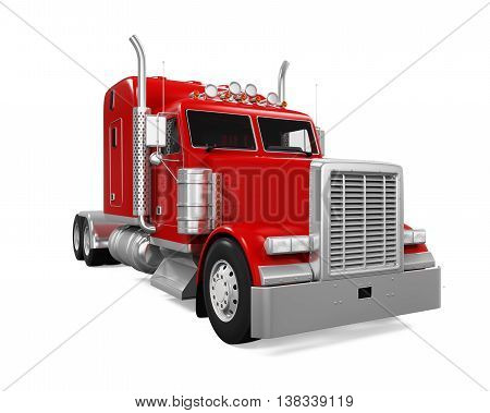 Red Trailer Truck isolated on white background. 3D render