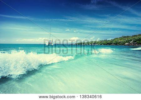 beach at Seychelles, Praslin, Anse Lazio