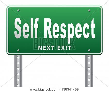 Self respect or dignity self esteem or respect confidence and pride 3D illustration, isolated, on white