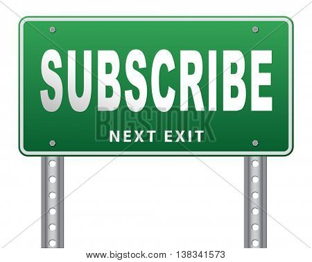 Subscribe here button online free subscription and membership for newsletter or blog join today 3D illustration, isolated, on white