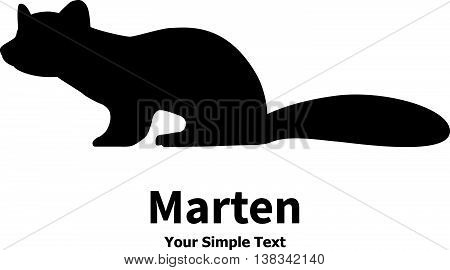 Vector illustration animal marten icon. Isolated silhouette on a white background.