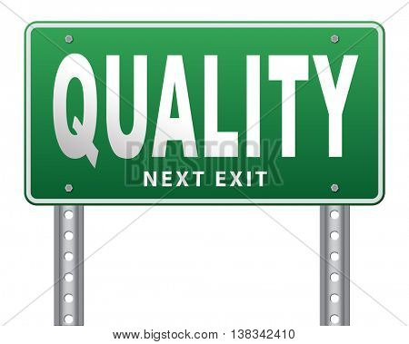 Quality control label 100% guaranteed warranty and top product survey. 3D illustration, isolated, on white