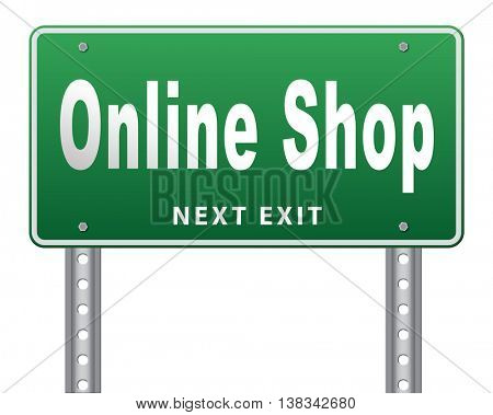 Online shopping internet web shop webshop, road sign billboard. 3D illustration, isolated, on white