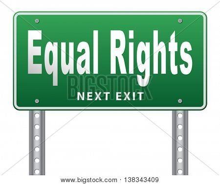 Equal rights no discrimination and same opportunities for all women man disabled black and white solidarity discrimination  3D illustration, isolated, on white