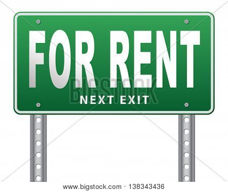 For rent sign, renting a house apartment or other real estate to let label. Home flat or room to let 3D illustration, isolated, on white