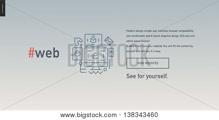 Web design block website template - contemporary flat vector icon of web design development and a corresponding text and button layout on gradient light grey background, on design studio website
