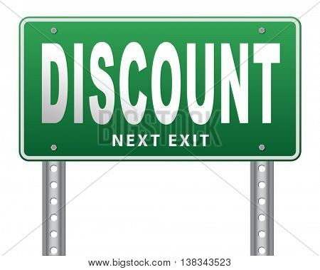 discount lowest price special offer bargain and sales discount, road sign billboard.  3D illustration, isolated, on white