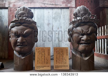 Head sculptures in Todaiji Buddhist temple, Nara, Japan