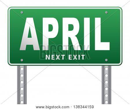 april spring month event calendar, roas sign billboard.  3D illustration, isolated, on white
