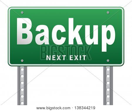 Backup data and software on copy in the cloud on a harddrive disk on a computer or server for files security. Data archiving and file transfer. 3D illustration, isolated, on white