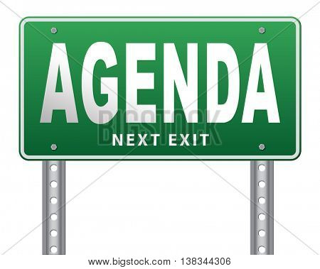 agenda timetable and business schedule organizing and planning time use for meetings and organize organization, road sign billboard. 3D illustration, isolated, on white