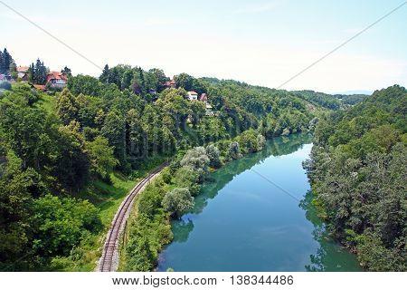 Kupa River upstream from Ozalj, natural landscape
