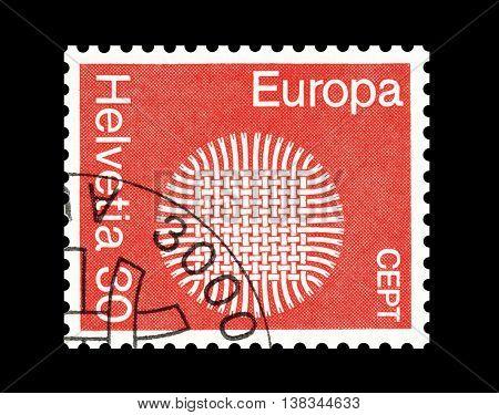 SWITZERLAND - CIRCA 1970 : Cancelled postage stamp printed by Switzerland, that shows Europe CEPT.