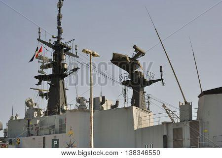 Radar system on the Italian military ship.