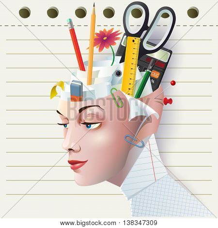 Unique creative Vector illustration a female head in the form of Office Stationery Organiser Pen Holder. Women's head office as a logo icon or avatar on the background the tear sheet from a notebook.