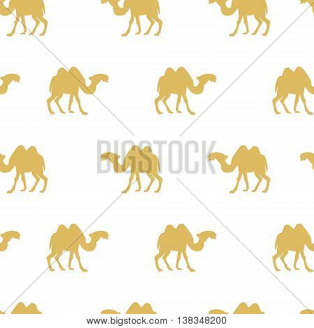 Vector illustration seamless pattern with camel silhouette. Safari background with camels