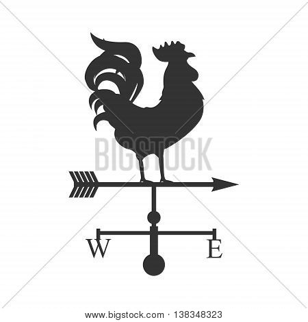 Vector illustration rooster weather vane. Silhouette rooster cock. Weather vane symbol icon