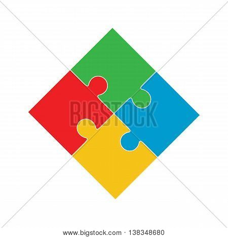 Four puzzle colored pieces vector illustration isolated on white background.
