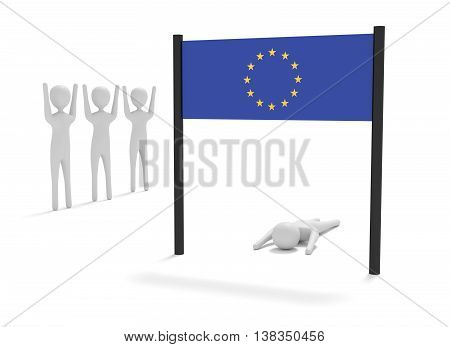 Way to EU: Failure on the home stretch 3d illustration