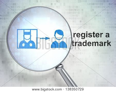 Law concept: magnifying optical glass with Criminal Freed icon and Register A Trademark word on digital background, 3D rendering