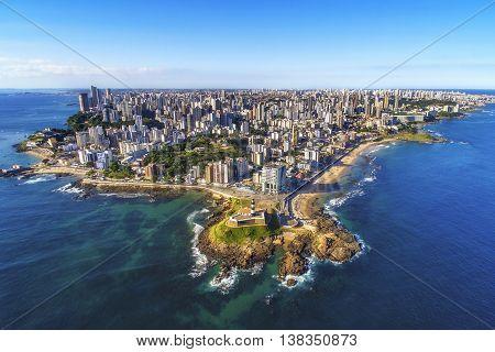 Aerial view of Salvador da Bahia cityscape, northeastern Brazil.
