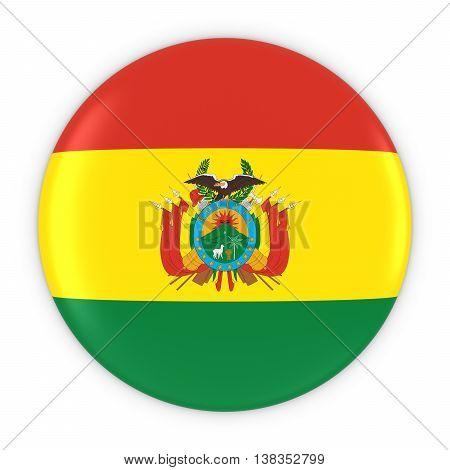 Bolivian Flag Button - Flag Of Bolivia Badge 3D Illustration