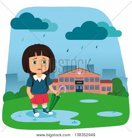 A vector illustration of a little crying girl going to school.