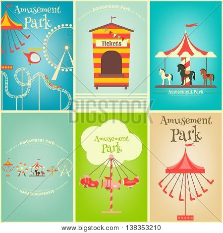 Amusement Park. Summer Holiday Card with Fairground Elements. Mini Posters Set. Vector Illustration.