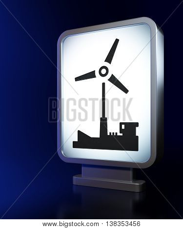 Manufacuring concept: Windmill on advertising billboard background, 3D rendering