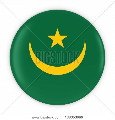 Mauritanian Flag Button - Flag Of Mauritania Badge 3D Illustration