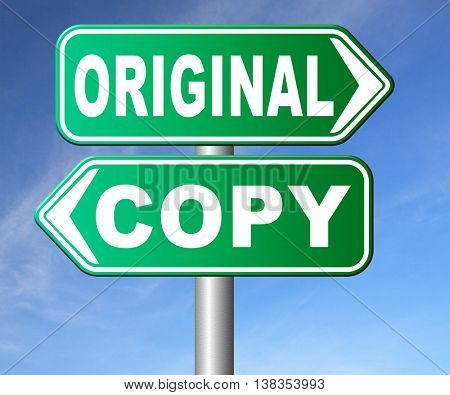 original idea or copycat cheap and bad copy or unique top quality product guaranteed road sign  3D illustration, isolated, on white
