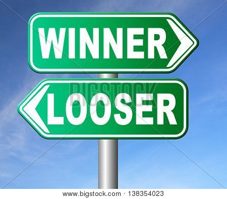winner looser win or loose the sports game or competition start winning and stop being a looser change your luck road sign arrow 3D illustration, isolated, on white