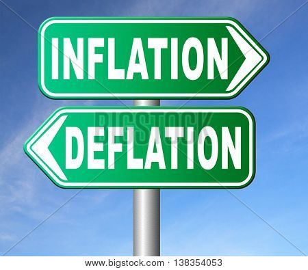 inflation deflation bank crisis or financial and economic recession or stock market crash or rise sign 3D illustration, isolated, on white