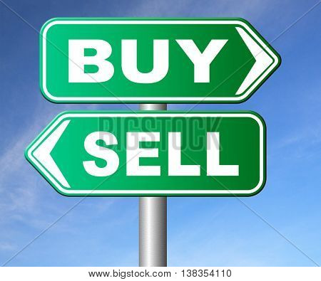 buy or sell market share buying or selling on stock market exchange international trade road sign text 3D illustration, isolated, on white