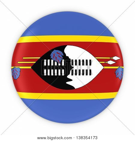 Swazi Flag Button - Flag Of Swaziland Badge 3D Illustration