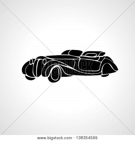 Classic car silhouette isolated on black background, Vintage car vector