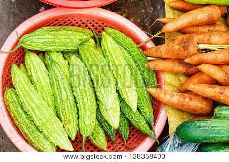 Asian Street Market Selling Fresh Momordica Charantia In Vietnam