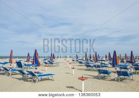 No people beach panorama full of deckchairs
