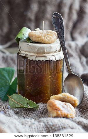 tasty eco homemade fig jam in glas jar