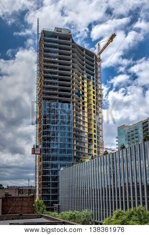 A building under construction in Nashville, TN.