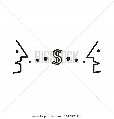 Dialogue, contact, conversational exchange between two individuals, mens, conversation between people is money