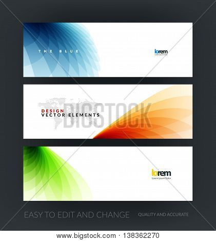 Vector set of modern horizontal website banners with soft wave shapes for business and beauty template with beautiful overlap effect. Web headers design. Creative corporate vector flyer.